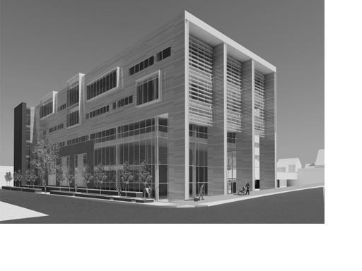 Southwest corner of the proposed court-police facilty at Fifth Avenue and Huron Street